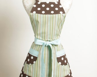 Retro style Apron- Greens Blues and Brown and White Polka Dots