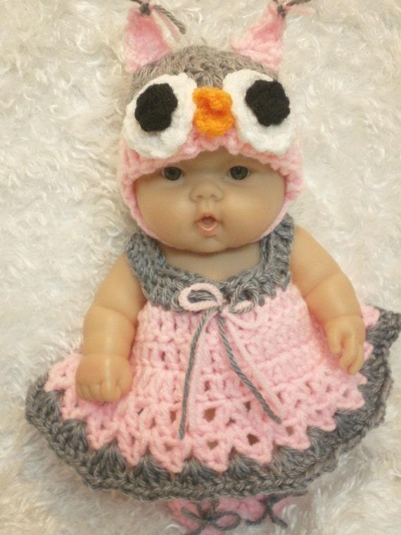 Vestiti per bambole Berenguer/Reborn di 10 e 8 pollici. Gufo Dress Set