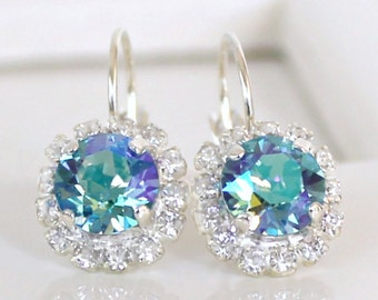 Paradise Shine Swarovski Crystals Framed with Clear Halo Crystals on Silver Lever Back Earrings, Blue-Green Crystal Halo Dangles