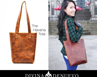 Everyday Leather Bag - Tan Leather Tote Purse - Cognac Shopping Leather Bucket Bag
