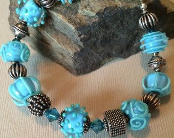 Aqua and Green Lampwork Bracelet and Sterling Silver