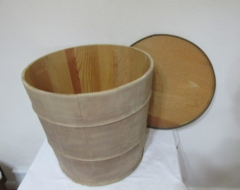Wisconsin Wood Butter Tub Barrel with Wooden Lid