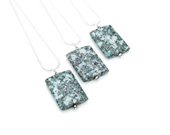 Jasper Pendant Necklace, Blue Teal Jasper Pendant, Modern, Geometric Necklace, Your Choice of Chain by Mei Faith