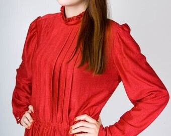Vintage 80s Cherry Red Pleated Front Ruffle Collar Long Sleeve Shirtwaist Dress Made in Canada (sz M 6 8 10)