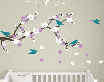 Cherry Blossom Branch Wall Decal with Birds, Childrens Wall Decals, Cherry Blossom Wall Decals, Baby Girl Nursery Decals, Vinyl Wall Decal
