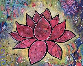 Lotus Blossom Art Print - Spiritual Art titled Transcend