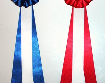 2 Large Model Horse Rosettes, 10 inches, Blue and Red With White, Set of 2 Awards