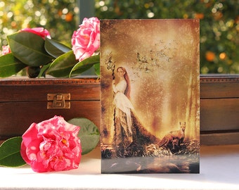 Fairy Tale Art Card Dryad Goddess | Lady of the Forest | Greeting Card 5 x 7 Print of Original Fantasy Illustration