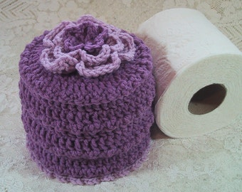 CLEARANCE PRICED - Toilet Paper Cover w- Flower on Top - TP Cozy - Hand Crocheted Lavender Colors - Acrylic Yarn - Bed & Breakfast Decor