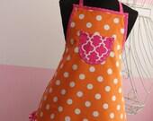 Kids Apron and Chef's Hat - Little Girls Apron Set - Orange Dot & Pink Lattice