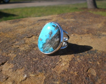 Natural Morenci Turquoise Silver Ring Smooth Statement Ring