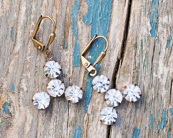Crystal Rhinestone EARRINGS Jewel Vintage Style Estate Style Hollywood Glamour Wedding BRIDE