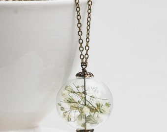 Baby's Breath Terrarium Necklace Nature Flower Vintage Wedding Bohemian Floral Necklace Sterling Silver