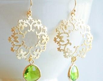 Green Peridot GOLD Lace Earrings Bohemian Wedding Apple Green Light Green Stone