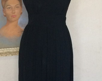 1950s Vintage Edward Abbott - Wilson Folmar - Vintage LBD - Little Black Dress - Plunge Back - Classic Traditional - Wedding Party - 38 Bust