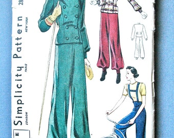 1930s Simplicity 2881 Vintage Misses' Ski-Suit Sewing Pattern    Bust 32 inches