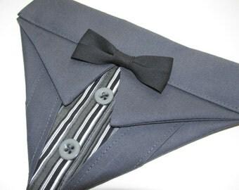 Dog Suit Bandana Dark Gray Sz XS S M