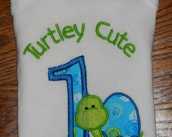 Embroidered Shirt- Turtley Cute