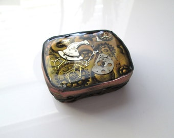 Handmade Polymer Clay Steampunk - Metal Tin, Metal Box, Polymer Clay Tin Box, Handmade, Watch Parts Box, Gift for Her, Mom Gift