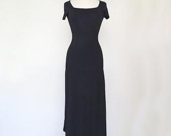 SAD GIRL // black bodycon 1990s maxi dress XS / S