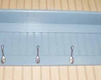 36 Inch Country Blue Coat Rack Shelf W Satin Chrome Hooks