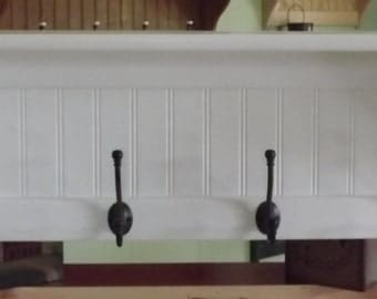 Wood Coat Rack Wall Shelf Pine Wall Rack Painted White with Black English Hooks
