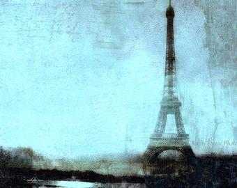 Paris Photography, Eiffel Tower Pastel Aqua Blue Abstract Art, Aqua Blue Paris Home Decor, Dreamy Eiffel Tower Aqua Fine Art Photo Wall Art