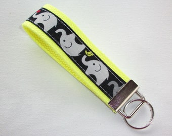 Key FOB / KeyChain / Wristlet  - Gray Grey elephants on yellow - design your own