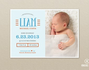 Baby Announcement // Photo Baby Announcement // Birth Announcement - Line Motif