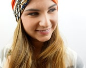 Turban Twist Headband Orange Pink Paris Couture Chain Print Wide Head Wrap Strech Yoga Headband Women's Hair Accessory - Choose Your Color
