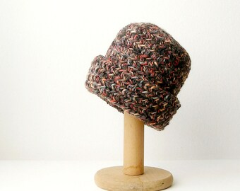Brown Multicolored Beanie Crochet  Slouchy Hat fom Men  Unisex