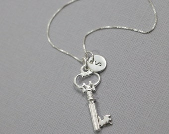 Personalized Sterling Silver Key Necklace, Sterling Silver Key Pendant, Key Necklace, Personalized Necklace, Gift for Her, Girlfriend Gift