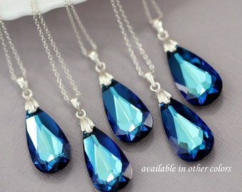 Swarovski Bermuda Blue Faceted Flat Drop Necklace, Mother of the Bride Gift, Bridesmaid Necklace, Bridesmaid Gift, Maid of  Honor Gift