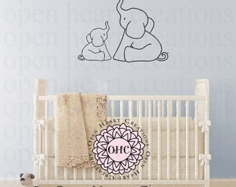Elephant Wall Decal With Heart   Vinyl Wall Art Animal Graphics   Baby  Nursery Kids Room Part 59