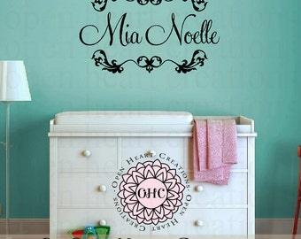 Personalized Baby Girl Name Wall Decals - Shabby Chic Baby Nursery Vinyl Wall Decal with Initial Name and Heart Accents 22h x 36w FN0318