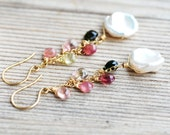 Keishi Pearl and Tourmaline 14k Gold Filled Earrings - Multi Color - Watermelon - Wire Wrapped Briolettes - Keishi Pearls