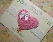 Pink Heart Headband, Chiffon Rosette Headband, White Lace Headband, Heart Hair Bow, Toddler Headband, Valentine's Day Headband