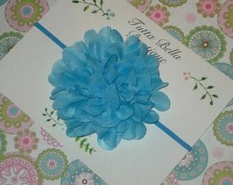 Turquoise Flower Headband, Turquoise Chiffon Baby Headband, Baby Hair Bow, Blue Headband, Toddler Headband, Newborn Headband