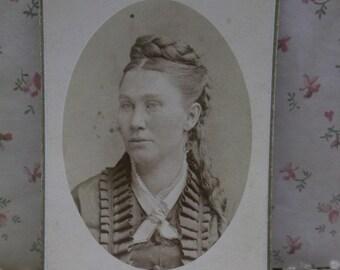 Pretty Lady-Fashion Dress-Braided Hair-Antique CDV Photo-Gloversville,NY