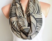 FREE SHIPPING Beige and Black Infinity Scarf Loop Scarf Circle Scarf Cowl Scarf