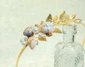 ONDINE Seashell and Pearl Golden Laurel Leaf Headband, Seashell Headband, Pearl Headband, Ocean Wedding, Beach Wedding, Bridal Crown, Surf