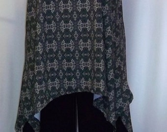 Coco and Juan, Lagenlook, Plus Size Tunic, Black and Taupe, Deco Print, Traveler Knit, Angled Tank Top Size 1 Fits 1X,2X Bust  to 52 inches