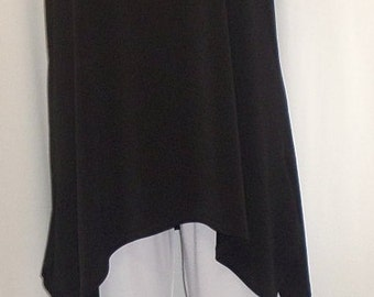 Coco and Juan, Lagenlook, Plus Size Tunic, Black, Traveler Knit Angled, Plus Size Tank Top, Size 2 Fits 3X,4X Bust 60 inches