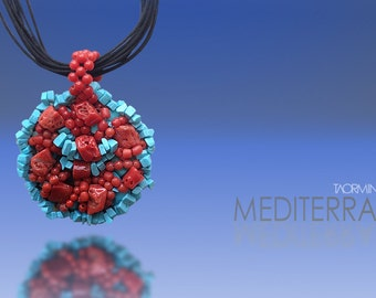 Coral and Turquoise Pendant with Silk Cords