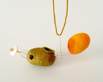 Silk Cocoons Pendant Contemporary Silk Cocoon Pendant With Gold And Nacre Cocoons Jewelry