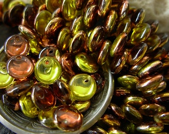 Reduced- 6mm Czech Lentil Glass Beads- Mirror Reflection- Chocolate Honey (50)
