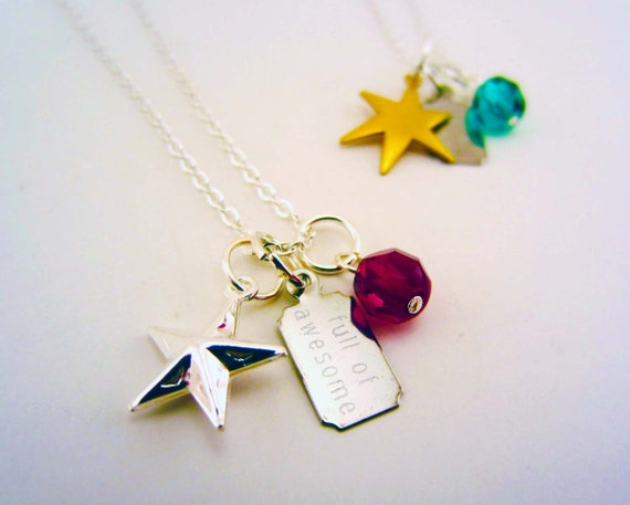 Set of two best friend necklaces. Silver and/or gold star, full of awesome, birthstone charm. Silver charm necklace. Best friend gift.