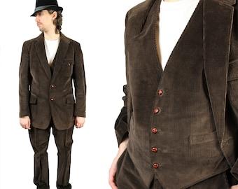 Corduroy Three 3 Piece Suit 42R 37x31 Vintage Steampunk Costume Dark Brown  Free US Shipping