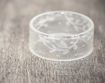 Lace Resin Bangle Bracelet Vintage French Lace White Wide Cuff OOAK wedding bridal eco friendly jewelry