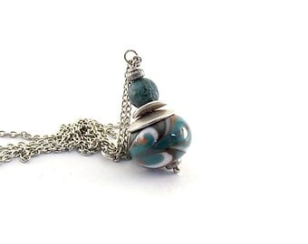 Turquoise and Brick Necklace - Handmade Lampwork Necklace - Silver Necklace - Turquoise Necklace - Beaded Necklace - Antique Silver - N045